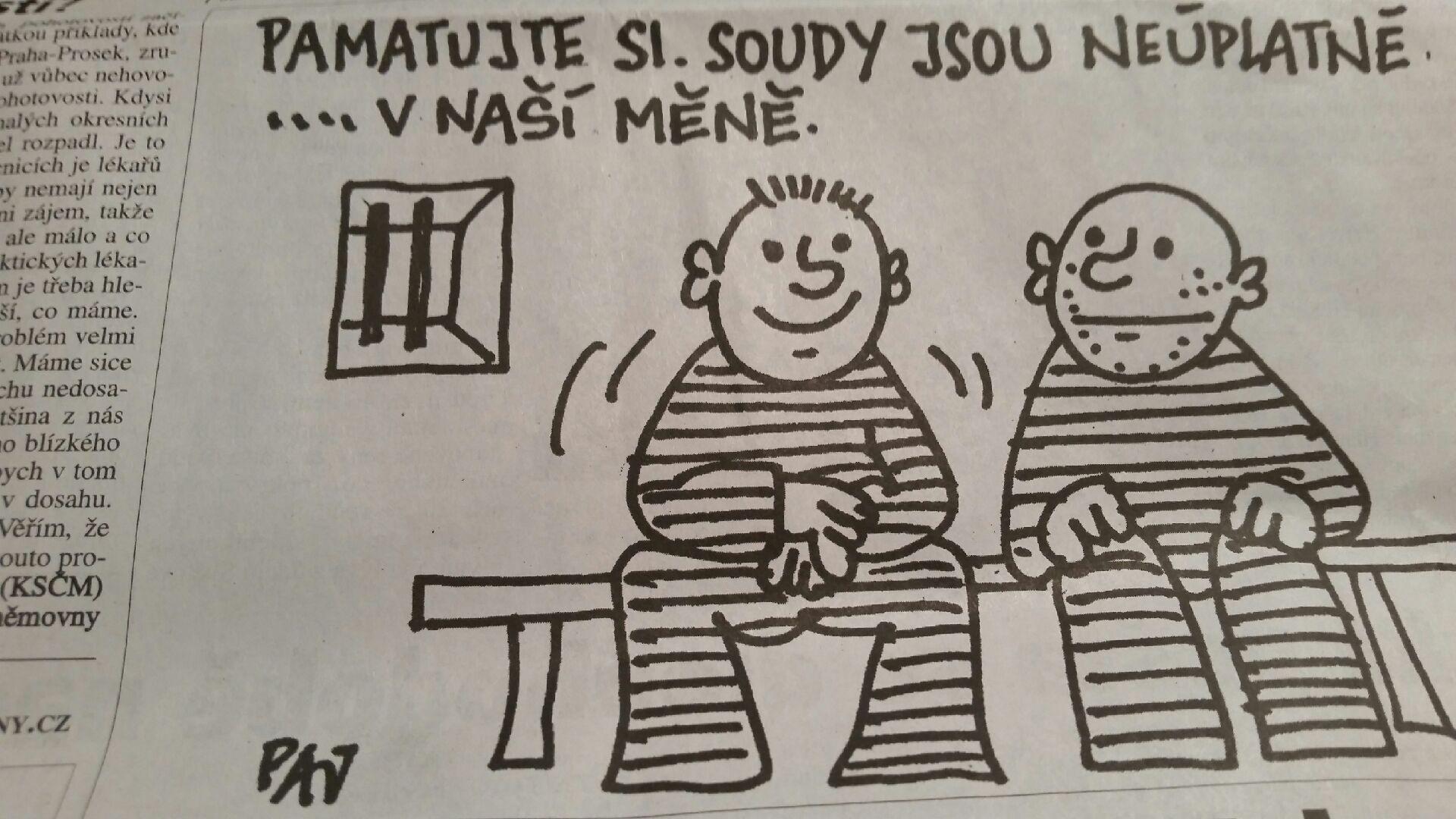 Současná situace v našem soudnictví je vděčné téma i pro celou řadu výtvarníků.Další komentář k obrázku není třeba