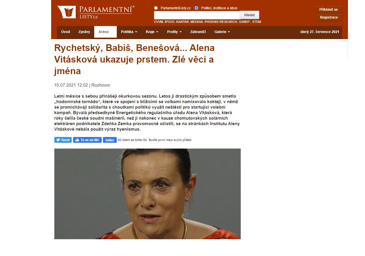 Rychetský, Babiš, Benešová… Alena Vitásková ukazuje prstem. Zlé věci a jména